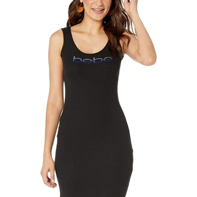 Bebe - Bebe Black/Blue Logo Midi Dress
