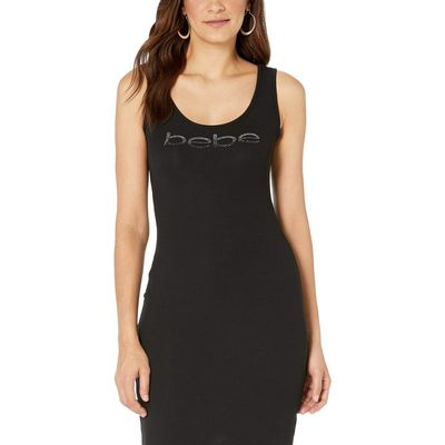 Bebe - Bebe Black/Gunmetal Logo Midi Dress