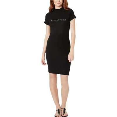 Bebe - Bebe Black/Gunmetal Rib Knit Short Sleeve Mock Neck Logo Dress