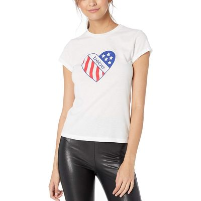 Bebe - Bebe Bright White Dallas Short Sleeve Tee