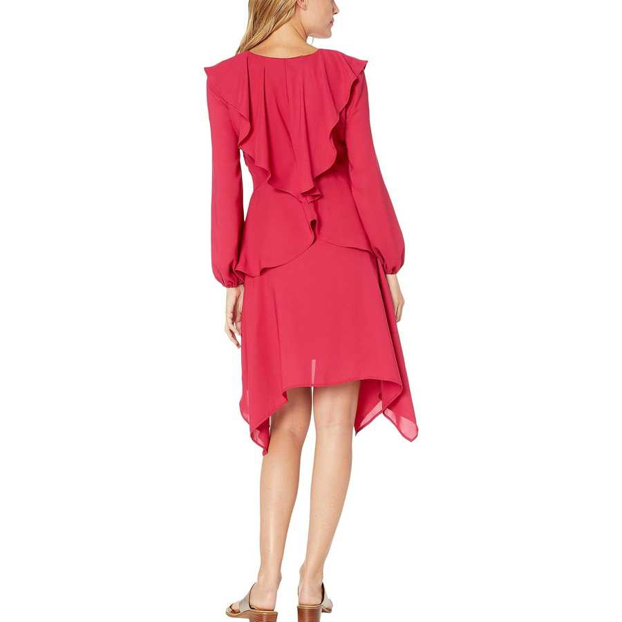 Bebe Cerise Elyse Ruffle V-Neck Dress