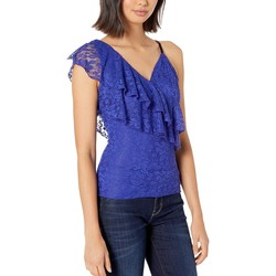 Bebe Clematis Blue Printed Lace Top With Grosgrain Straps - Thumbnail