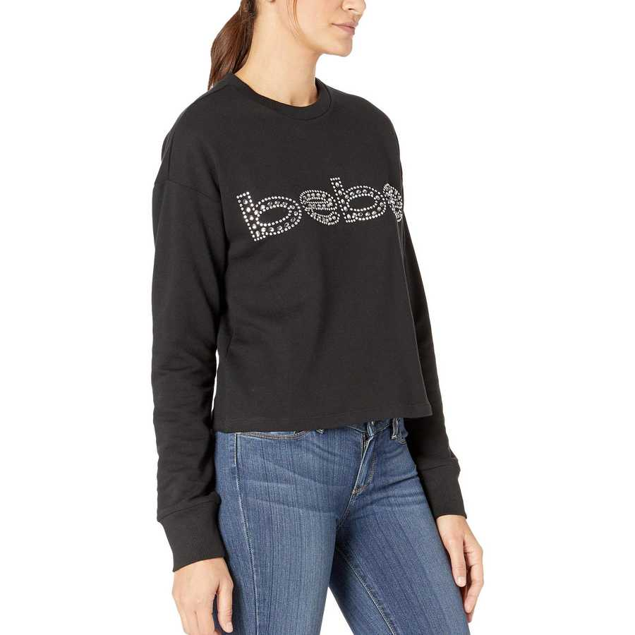 Bebe Jet Black French Terry Graphic Top