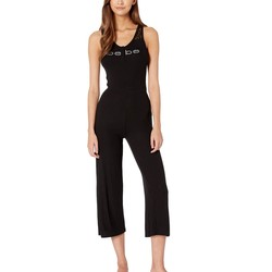 Bebe Jet Black Logo Lace Detail Jumpsuit - Thumbnail