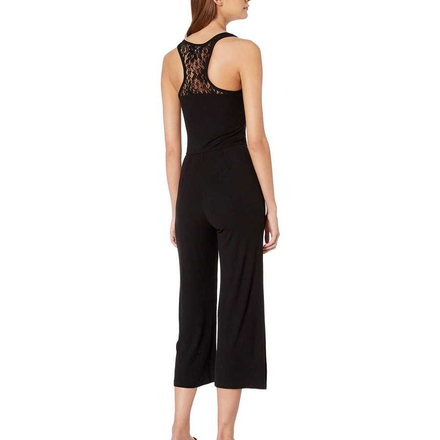 Bebe Jet Black Logo Lace Detail Jumpsuit