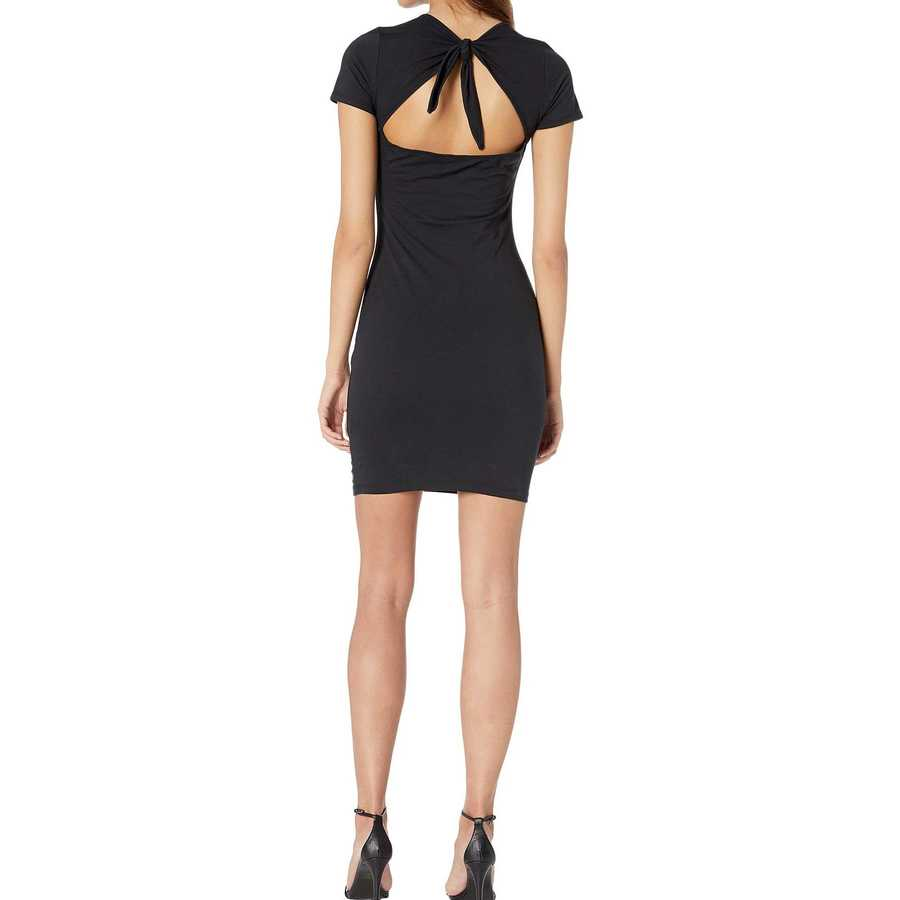 Bebe Jet Black Short Sleeve T-Shirt Dress