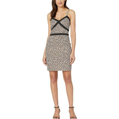 Bebe Leopard Safari Tight Cami Dress