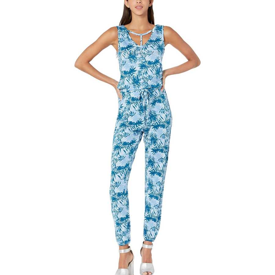 Bebe Moroccan Blue Palm Ray Span Jumpsuit
