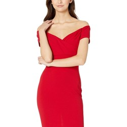 Bebe Red Scuba Crepe Midi Dress - Thumbnail