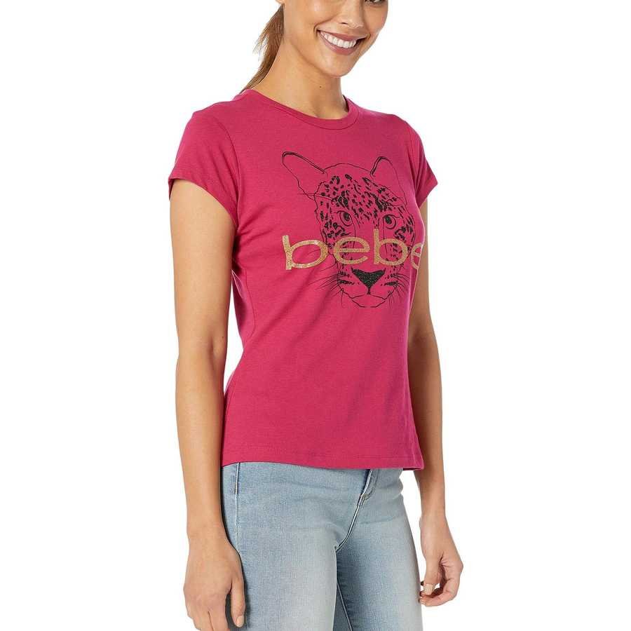 Bebe Sangria Leopard Graphic Cotton Tee