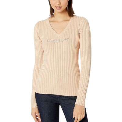 Bebe - Bebe Toasted Almond Rib Logo V-Neck Sweater