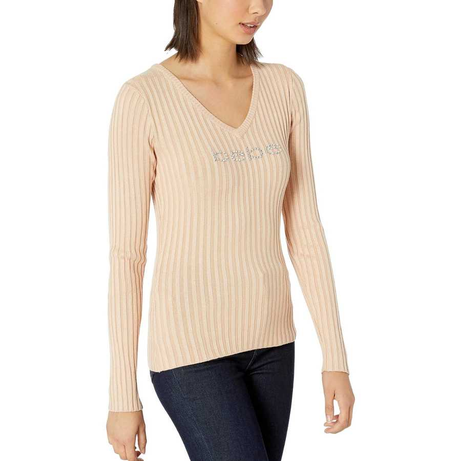 Bebe Toasted Almond Rib Logo V-Neck Sweater