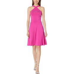 Bebe Very Berry Halter Fit And Flare Dress - Thumbnail