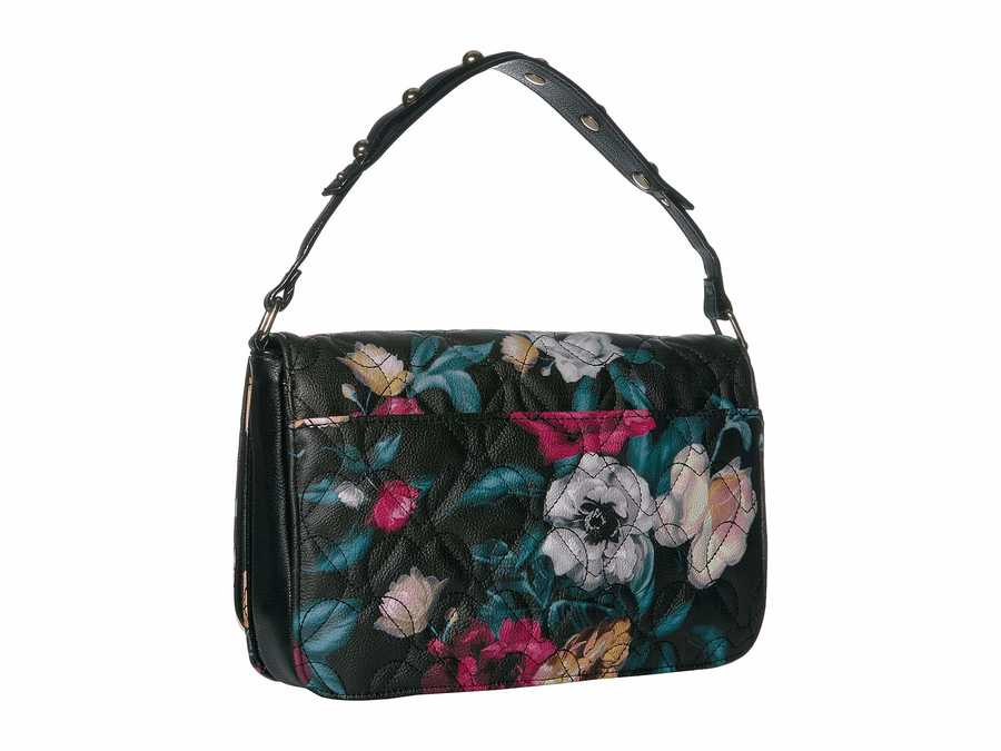 Betsey Johnson Black Floral Double Handle Cross Body Bag