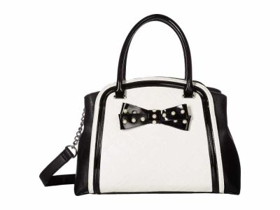 Betsey Johnson - Betsey Johnson Bone/Black Pearl Bow Satchel Handbag