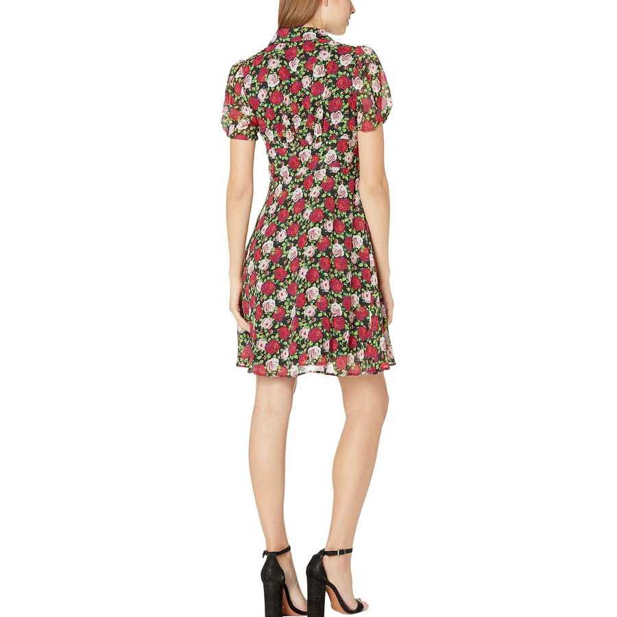 Betsey Johnson Floral Bouquet Mini Floating Roses Button Front Dress