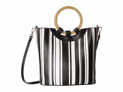 Betsey Johnson - Betsey Johnson Stripe Confetti Rings Medium Bucket Bag Bucket Handbag