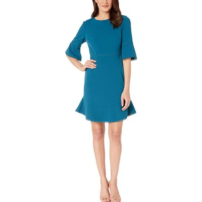 Betsey Johnson - Betsey Johnson Teal Scuba Crepe Dress With Trim Detail