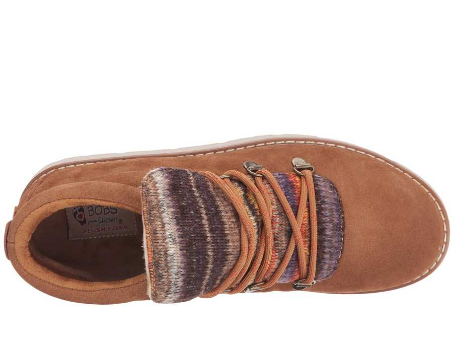 Bobs From Skechers Women Chestnut Bobs Alpine - S'Mores Lace Up Boots