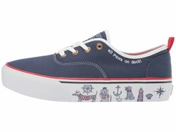 Bobs From Skechers Women Navy Marley - On Deck Lifestyle Sneakers - Thumbnail