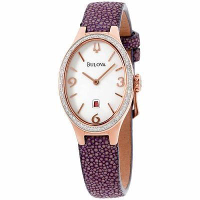 Bulova - Bulova Diamond White Dial Leather Strap Ladies Watch 98R198