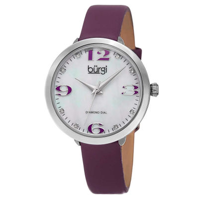 Burgi - Burgi Classic Women's Japanese Quartz Diamond Markers Leather Strap Watch BUR119PU