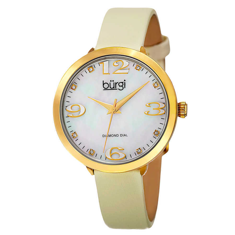 Burgi Classic Women's Japanese Quartz Diamond Markers Leather Strap Watch BUR119YG