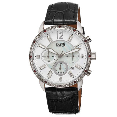 Burgi - Burgi Women's Crystal Dial Chronograph Genuine Leather Strap Watch BUR089BK