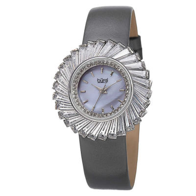Burgi - Burgi Women's Dazzling Swiss Quartz Mother of Pearl Dial Genuine Leather Strap Watch BUR114GY