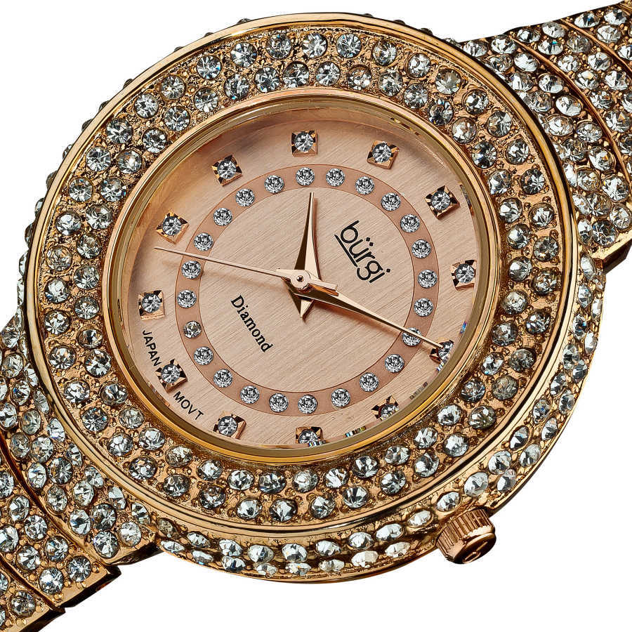 Burgi Women's Diamond-Accent-and-Crystal Water-Resistant Fashion Watch BUR048RG