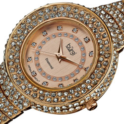 Burgi Women's Diamond-Accent-and-Crystal Water-Resistant Fashion Watch BUR048RG - Thumbnail