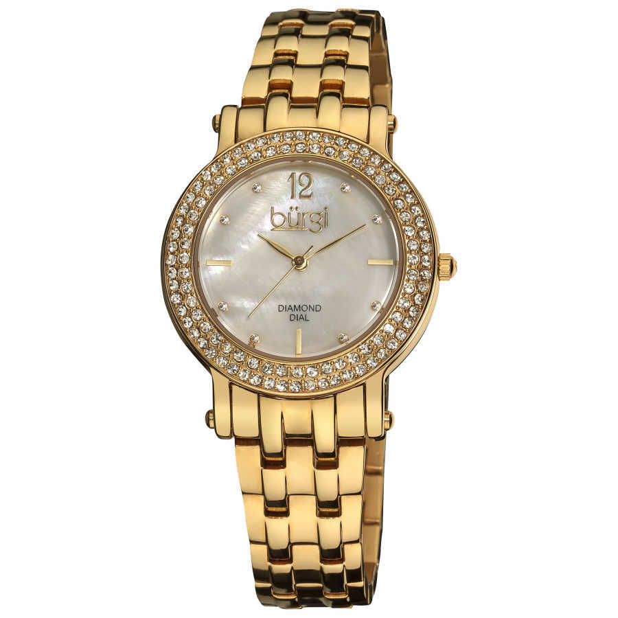 Burgi Women's Diamond Mother of Pearl Dial Stainless Steel Bracelet Watch BUR079YG