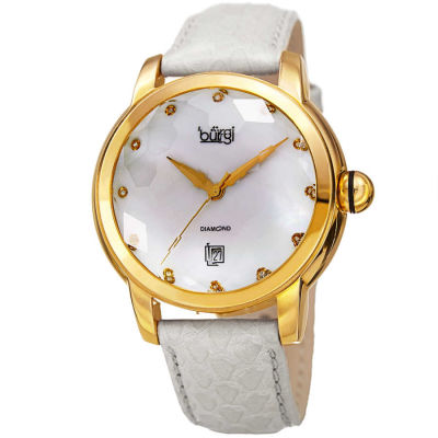 Burgi - Burgi Women's Diamond Quartz Date Watch, White Strap BUR014W