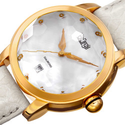 Burgi Women's Diamond Quartz Date Watch, White Strap BUR014W - Thumbnail