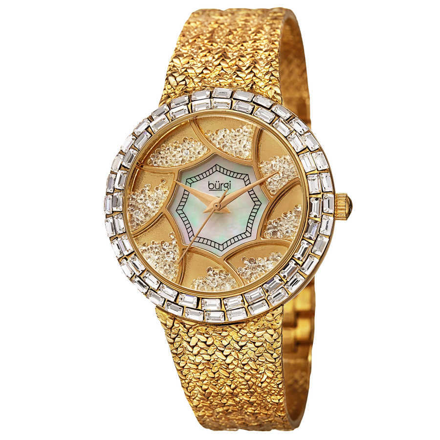 Burgi Women's Floating Crystals Japanese Quartz Brass Bracelet Watch BUR118YG