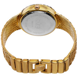 Burgi Women's Floating Crystals Japanese Quartz Brass Bracelet Watch BUR118YG - Thumbnail