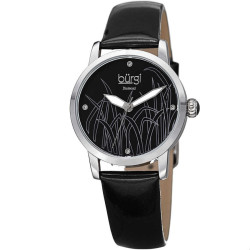 Burgi Women's Genuine Diamond Leather Strap Watch BUR173BK - Thumbnail