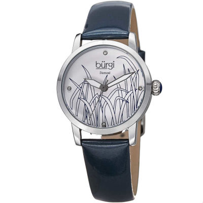Burgi - Burgi Women's Genuine Diamond Leather Strap Watch BUR173BU
