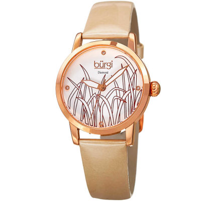 Burgi - Burgi Women's Genuine Diamond Leather Strap Watch BUR173GLD