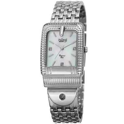 Burgi - Burgi Women's Genuine Diamond Mother of Pearl Buckle Bracelet Watch BUR171SS