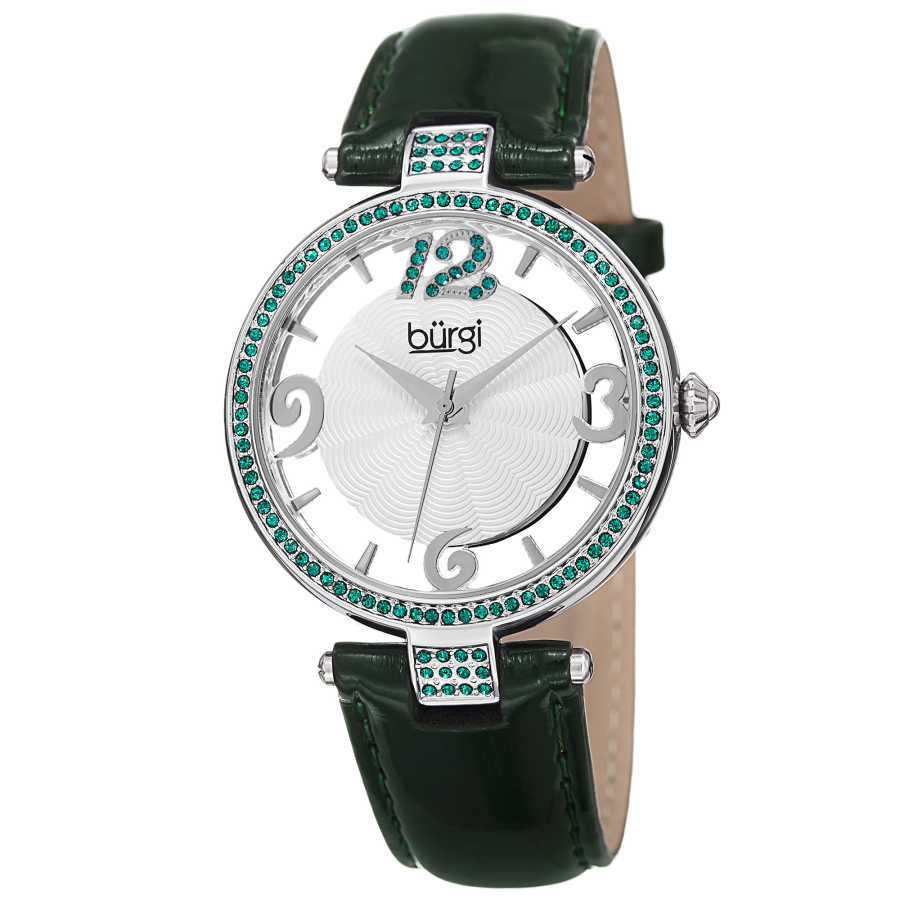 Burgi Women's green genuine leather strap watch with emerald Swarovski crystals on the bezel, lugs and 12 o'clock marker. BUR150GN