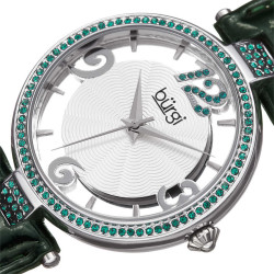 Burgi Women's green genuine leather strap watch with emerald Swarovski crystals on the bezel, lugs and 12 o'clock marker. BUR150GN - Thumbnail