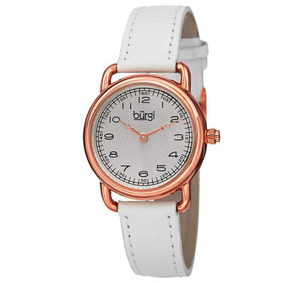 Burgi - Burgi Women's Japanese Quartz Arabic Numeral Markers Leather Strap Watch BUR121WTR
