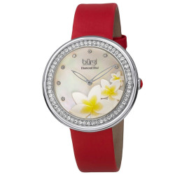 Burgi Women's Japanese Quartz Diamond Floral Design MOP Strap Watch BUR116RD - Thumbnail
