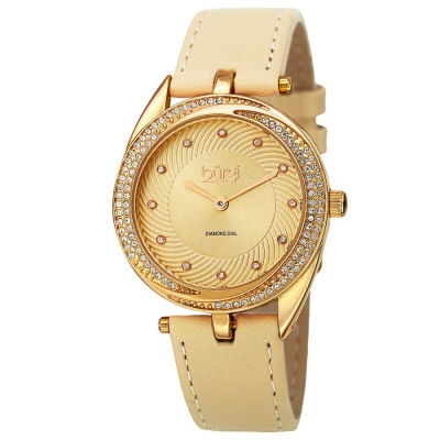 Burgi - Burgi Women's Japanese Quartz Diamond Markers Leather Strap Watch BUR122YG