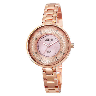 Burgi - Burgi Women's Mother of Pearl Diamond-Accented Brass Chain Watch BUR103RG