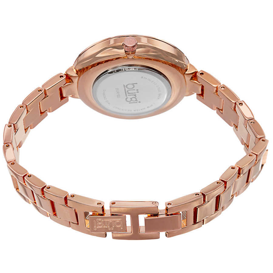 Burgi Women's Mother of Pearl Diamond-Accented Brass Chain Watch BUR103RG