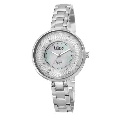 Burgi - Burgi Women's Mother of Pearl Diamond-Accented Brass Chain Watch BUR103SS