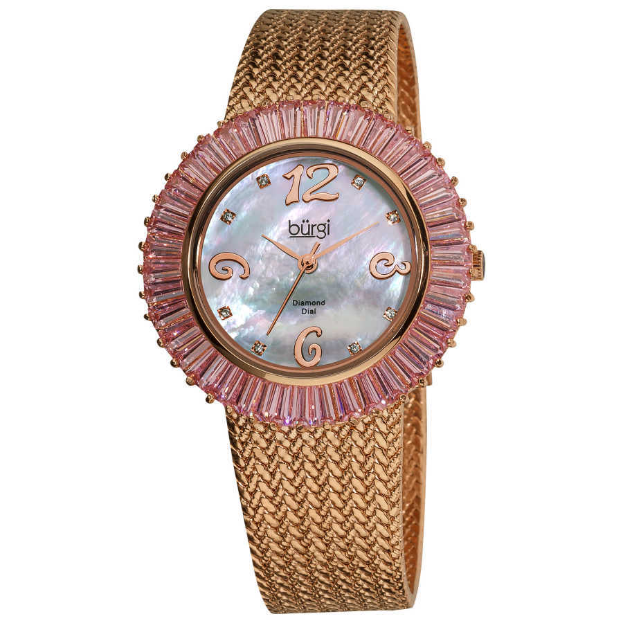 Burgi Women's Mother of Pearl Diamond and Baguette Bracelet Watch BUR076PK