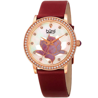Burgi - Burgi Women's Quartz Crystal Leather Strap Watch BUR159RD
